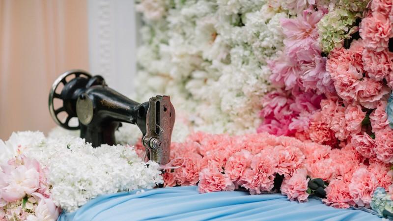Carpet of flowers under sewing machine