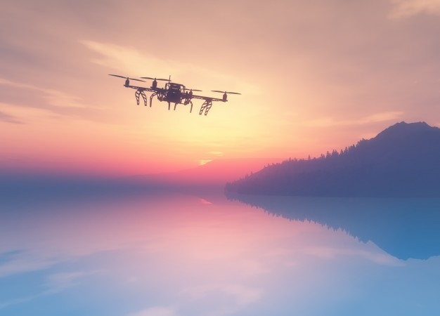 3d-render-of-a-drone-flying-over-a-sunset-ocean_1048-5824
